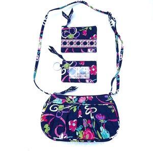 Vera Bradley Ribbons 3pc Blue Crossbody Bag Set